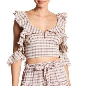 NWT Off Shoulder Plaid Blouse